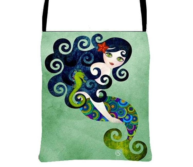 Aquamarine Cute Mermaid Cross Body Essentials Handbag Fantasy Art Purse, Sandra Vargas Artwork